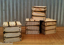 """Miniature 3/4"""" Square Crates 4 Pieces Solid Wood Box Dollhouse 1:12  1:24 Train"""
