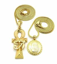 Hip Hop Mini Eye of Heru Ankh Cross, Pharaoh King Pendant 2 Necklace Set $RC857