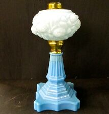 NEW ALADDIN BY FENTON L. G. WRIGHT LAMP BASE WITH FONT POWDER BLUE FLORAL LG1