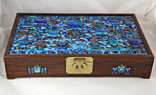 Antique CHINESE HINGED HARDWOOD BOX with APPLIED ENAMEL DECORATION w/ brass lock