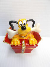 Pluto's Special Treat Pewter Trinket Box - Dept.56 Bejeweled Disney Collection