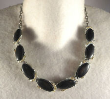 Vintage Clear Rhinestone Black Thermoset Plastic Cabochon Chain Necklace Silver