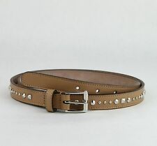 $495 Gucci Studded Caramel Brown Leather Belt w/silver Buckle 95/38 380561 2754