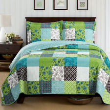 Rebekah Queen Size Oversized Coverlet 3-PC Set Luxury Microfiber Printed Quilt