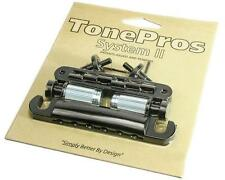 TonePros LPBS02 Locking NASHVILLE Tune-o-matic Bridge & Tailpiece Set BLACK