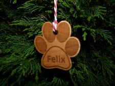 Personalised Cat / Dog Paw Print Christmas Tree Decoration | Bauble Gift Name