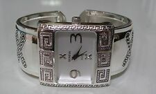 WESTERN STYLE SILVER FINISH WOMEN'S FASHION WATCH BANGLE