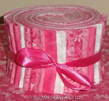 "Jelly Roll Quilting Fabric Strips Soft Pink/White 100% Cotton 20~2.5"" Floral Swi"