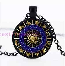Signs of the Zodiac Photo Cabochon Glass Dome Black Chain Pendant Necklace