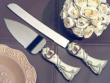 Wedding Cake Server and Knife Set Rustic Country Western Design Stainless Blades