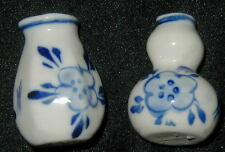 2 VINTAGE MINIATURE PORCELAIN VASES, HAND PAINTED FLOWERS IN COBALT, CHINESE?