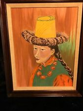 Outsider Art Acrylic on Board Painting of Tibetan Woman - Signed and Dated