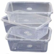 250 x MICROWAVE PLASTIC CONTAINERS & LIDS 650ml takeaway food