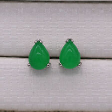 New Water-drop Green Emerald Jade Silver Plated Ear Stud Earrings Women Jewelry