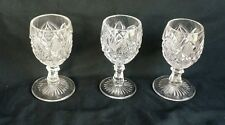 Lot of 3 Vintage Wine Cut Glass Sherry Glasses Goblets Early American Pattern