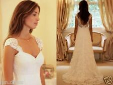 2016 Simple A Line White/Ivory New Lace Bridal Gown Custom Size Wedding Dress