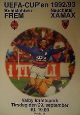 Programm UEFA Cup 1992/93 Boldklubben FREM - Xamax Neuchatel
