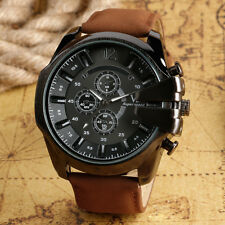 Outdoor Military Army Aviator Sport Leather Band Strap Men Analog Wrist Watch