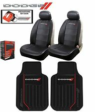 6 PC Dodge Elite Seat Covers Leather & Front Rubber Floor Mats Fast Shipping