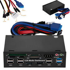 UK 5.25'' Media Dashboard Card Reader USB 2.0/3.0 20 Pin e-SATA SATA Front Panel