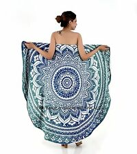 Ombre Mandala Round Beach Spa Bath Swimming Towel Tapestry Indian Yoga Mat Decor