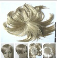 medium blonde clip in on fringe hide bald grey patch hairpiece extension toupee