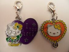 LOT 2 CHARMS BRELOQUE A FERMOIR METAL ARGENTE HELLO KITTY ORANGE VIOLET - BIJOUX