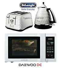 Delonghi Brillante White Kettle and Toaster & Daewoo Duo-Plate Microwave New