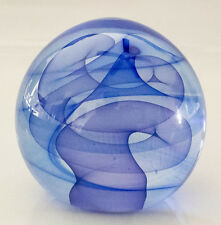 Paperweight Glass Cobalt Blue signed  YOUGHIOGHENY 2005