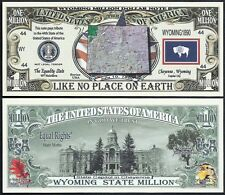 Lot of 25 BILLS - WYOMING STATE MILLION DOLLAR w MAP, SEAL, FLAG, CAPITOL