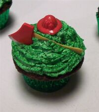 12 Fireman Hat & Ax Cupcake Design Toppers  Firefighter Fire