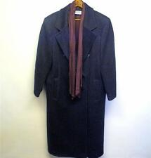 Women's Vintage J.G. HOOK Wool Double-Breasted Winter Coat Navy Blue w/Scarf
