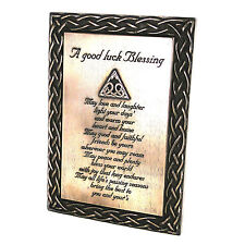 Irish Bronze Large Good Luck Blessing Celtic Wall Plaque