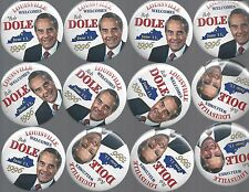1996 BOB DOLE VISIT TO LOUISVILLE, KY ONE DAY EVENT PIC. CAMPAIGN BUTTONS - 12