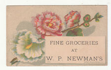W P Newman's Fine Groceries Flowers Bufford Vict Card c1880s