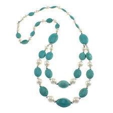 "Dyed Turquoise Howlite Oval White Shell 28""Fancy Beaded Strand Bib Necklace"