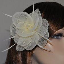 Spilletta fiore Spilla Piume Perle Accessorio per capelli Molletta Avorio bianco