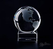 "Oleg Cassini 4.25"" crystal paperweight-GLOBE w stand -WORLD MAP giftbox,Travel"