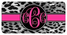 Personalized Monogrammed Custom License Plate Auto Car Tag Leopard Gray Pink