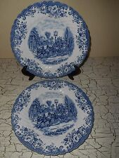 3 JOHNSON BROTHERS Coaching Scenes Dinner Plates Blue Stoke On Trent England