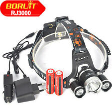 Boruit 12000LM 3xXM-L T6 LED Kopflampe Hiking Camping Headlamp 18650 AKKU Ladege