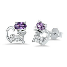 Amethyst & Cz Cat Stud .925 Sterling Silver Earrings