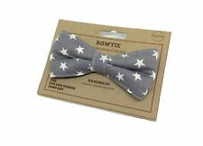 Dog Bow Tie, Grey Star Print, Dickie Bow, Dog Accessories