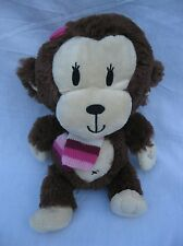 Childrens Place Brown Tan Monkey Pink Striped Scarf Bow Plush Stuffed Animal 10""