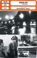 Fiche Cinéma. Movie Card. Radio on (G-B/RFA) 1979 Christopher Petit