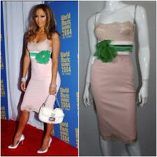 BODYCON J.LO $2950 DOLCE & GABBANA Pink Silk, Lace & Crystal Rose Dress 44 8-10