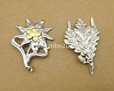 WWII GERMAN METAL EDELWEISS LEAVES CAP BADGE PIN INSIGNIA SILVER