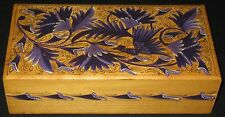 HP & DECORATED WOOD VANITY DRESSER TABLE BOX HINGE ORIENTAL FLORAL BIRDS LEAVES
