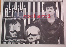 LOU REED Legendary Hearts 1983 UK Poster size Press ADVERT 12x8""