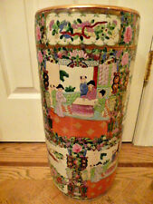 "Vintage Beautiful Chinese Rose Medallion Porcelain Umbrella Stand 18 3/8""x 8 1/2"